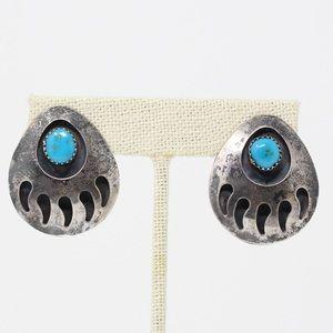 NAVAJO VINTAGE 925 Turquoise Paw Print Earrings